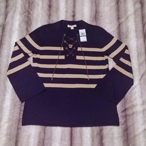 NWT Michael Kors Fashion Basics Striped Top